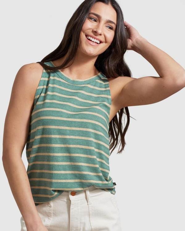 Wmns Striped High Neck Tank