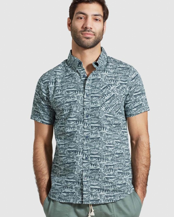 Mens Natural S/s Button Down