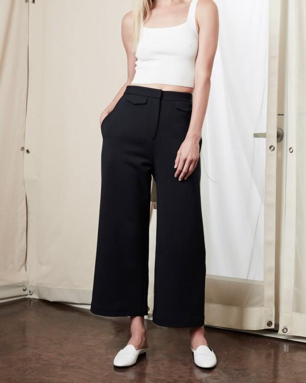 achro wide leg trousers-MARINE